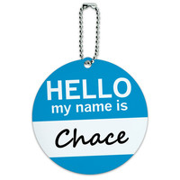 Chace Hello My Name Is Round ID Card Luggage Tag
