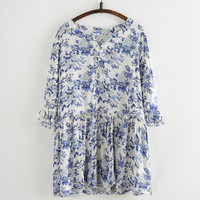 Floral Printing Cut-Out Neckline Drawstring Mini Dress