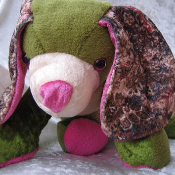 Very relaxed KHAKI Fuchsia Spaniel CUDDLY PUPPY - paisley home decor soft toy stuffed plush Dog Animal - designed, made in Berlin-Germany