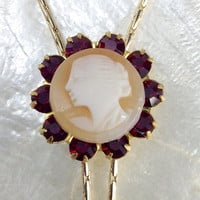 Cameo Necklace-Shell Necklace-Antique Italian Cameo-Lariat Necklace-Long Gold Necklace