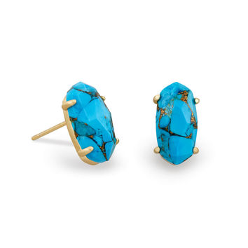 Betty Stud Earrings Bronze Veined Turquoise | Kendra Scott