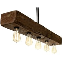 Farmhouse Style Distressed Wood Light Fixture - Recessed Wooden Beam Rustic Decor Chandelier Lighting (5 Light)