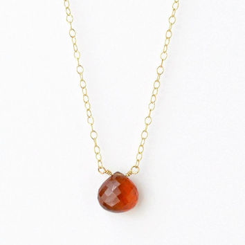 Spessartite Garnet Necklace / Burnt Orange Necklace / Rust Orange Necklace / Orange Gemstone Necklace / Orange Garnet Necklace / 16 Inch