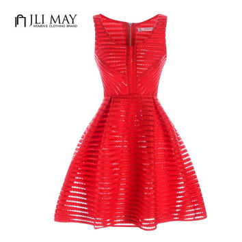 JLI MAY Textured Fit Flare Summer women Dress hollow out O-Neck Solid mini clothing Sleeveless Black red white elegant casual XL