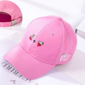 Cherry and Strawberry Embroidered Baseball Cap Hat