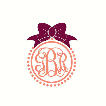 Initials For Car Vine Monogram Car Decal With Bow Car Monogram Decal Car Sticker Coral Car Decal Car Window Sticker Laptop Decal