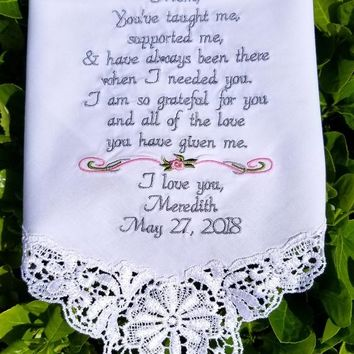 Wedding day gift, for mom by Canyon Embroidery
