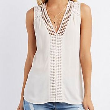 CROCHET-TRIM OPEN BACK TOP