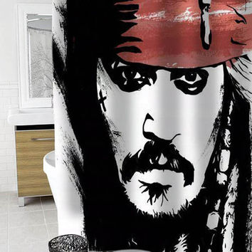 Jack Sparrow Johnny Depp Custom Shower Curtain Funny Shower Curtain size 36x72,48x72,60x72,66x72