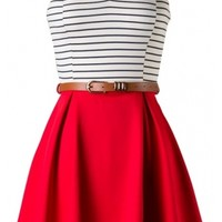 Striped Belted Dress