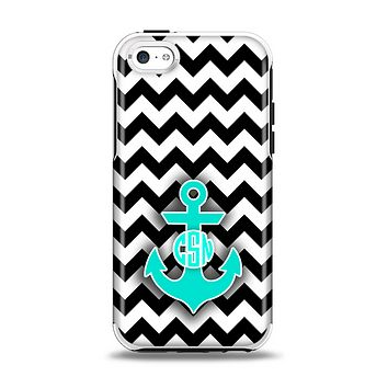 The Teal Green Monogram Anchor on Black & White Chevron Apple iPhone 5c Otterbox Symmetry Case Skin Set