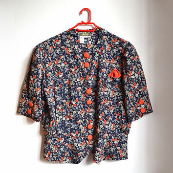 70s Floral Shirt Short Sleeve Midnight Blue Red Summer Blouse Collarless Button Up Vintage vtg 1970s M/L