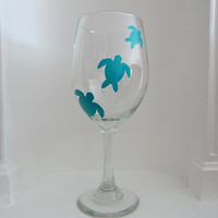 Custom Sea Turtles Wine Glass, custom wine glass, housewares, glassware, Home & Living, Women's Gift, Gift For Her, Spring Celebrations