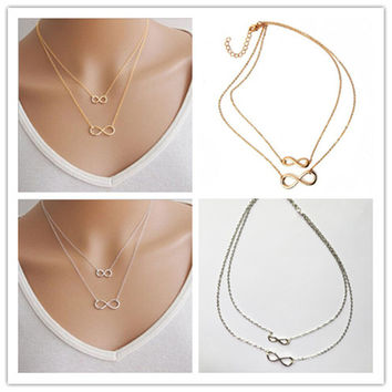 Infinite sign double deck necklace for women