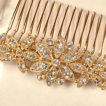 Sash Brooch OR Hair Comb, Vintage Art Deco Gold Pave Rhinestone Bridal Clip, 1920s Flapper Long Dress Pin or OOAK Accessory, Downton Abbey