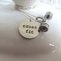 "Silver CrossFit necklace with sterling silver hand stamped ""cross fit"" charm and barbell charm"