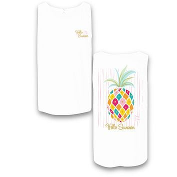Sassy Frass Hello Summer Pineapple Glitter Comfort Colors Bright T Shirt Tank Top
