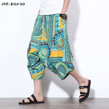 MRDONOO Summer Chinese style Men Loose Linen Shorts Knee Length Harem Pants Male Bermuda Casual Board Short Pants M-5XL