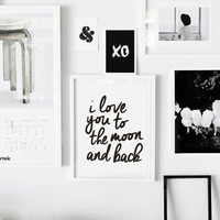 """Typography Print Motivational Wall Decor """"I Love You to the Moon and Back"""" Gratitude Handwriting Style Home Decor Wall Art Summer Trends"""