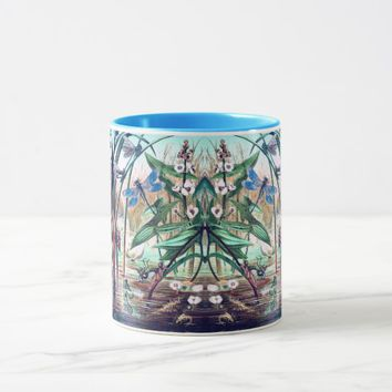 Dragonflies at the pond illustration mug
