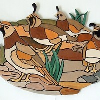 Quail, Wood Sculpture, Wall Decor. Would look great in a Office or Den.