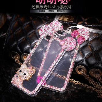 for Samsung Galaxy note 5 note 4 note 3 J5 J7 phone case With chain Hello kitty with bling diamond Rhinestone Mickey phone cover