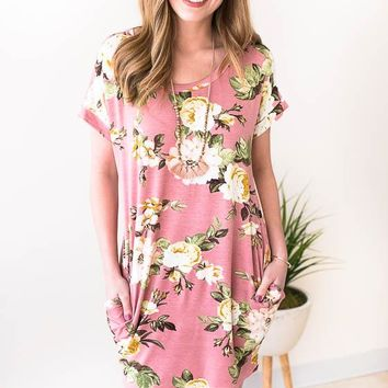 Valerie Floral T Shirt Dress with Pockets