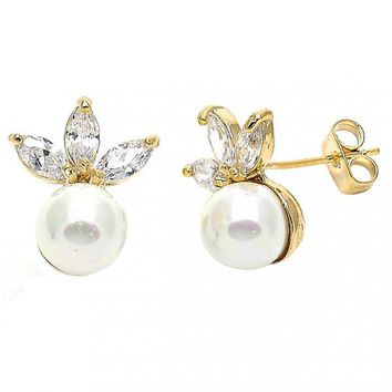 Gold Layered Stud Earring, Ball and Leaf Design, with Cubic Zirconia and Pearl, Gold Tone