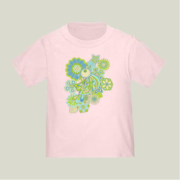 green Bird Toddler T-Shirts by juliagrifol on BoomBoomPrints