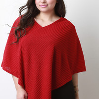 Ribbed Knit Pointed Poncho
