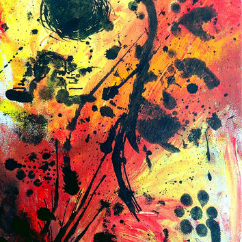 Original signed art painting-- abstract acrylic and ink on canvas-- colorful home decor-- one of a kind, never reproduced