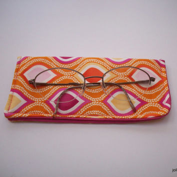 Bright Leaf Waves Orange Pink  Eyeglass Case Padded Protective Pouch