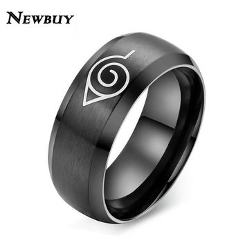 NEWBUY New Fashion Naruto Ring Black And Gold Cool Men Jewelry Stainless Steel Anime Ring Cool Men Accessories Hot Sale