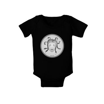 Medusa Head Coin - Greek Mythology Baby Romper Bodysuit Dark by TooLoud