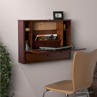 Wall-Mount Floating Desk With One Drawer Home Office Furniture Mahogany Finish