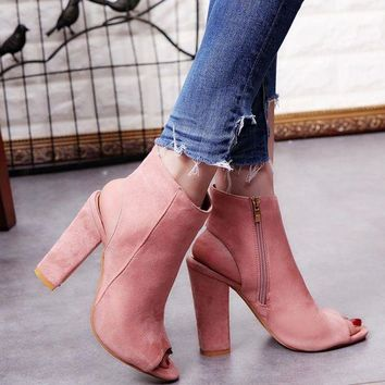 2017 Fashion Women's Spring Summer Open Toe Boots Casual Faux Suede Ankle Boots Thick