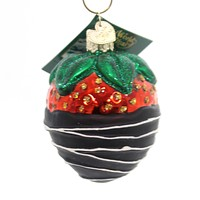 Old World Christmas Chocolate Dipped Strawberry Glass Ornament