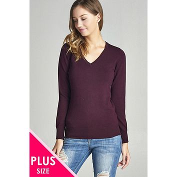 Plus size long sleeve v-neck classic sweater