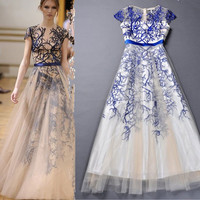 Unique Tree Printed Embroidered Gauze Dress