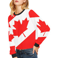 CANADA-2 Crop Pullover Sweatshirts for Women (Model H20) | ID: D3035277