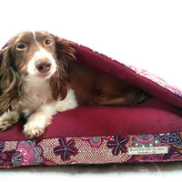 "Cozy Cave Memory Foam Pet Bed in Fleece and Plum ""Kibibi"" SMALL Dog or Cat"