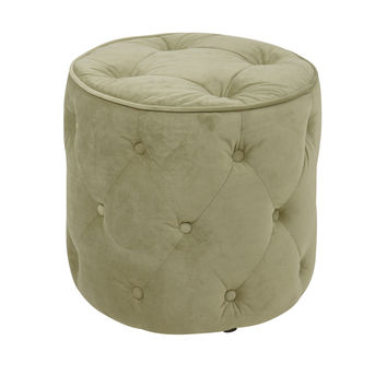 Office Star Curves Tufted Round Ottoman in Spring Green Velvet [CVS905-G28]