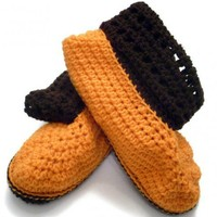 Boots slippers with cuff Women | Crochetedlittlethings - Clothing on ArtFire