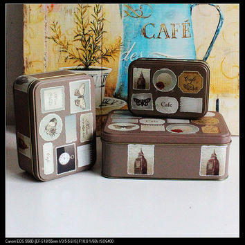 Big Ben butterfly stamp set brown color sets of rectangular storage box tin Metal Box Jewelry Tea box 3pcs/set