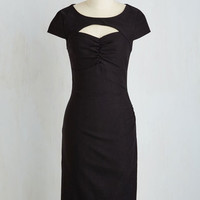 Pinup Long Short Sleeves Sheath Dear Fiery Dress in Black