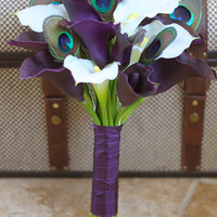 MADE TO ORDER - Peacock Bridal Bouquet Natural Touch Plum and White Calla Lily