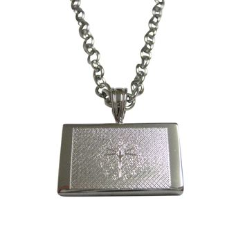 Silver Toned Etched Indiana State Flag Pendant Necklace