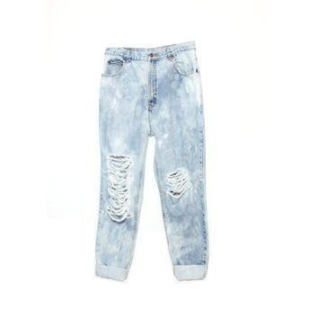 High Waisted Boyfriend Jeans Destroyed Ripped and Bleached Acid Wash - Custom Fit - Levis, Calvin Klein, Etc. (All Sizes Available)
