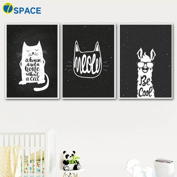 Cartoon Cat Llamas Quotes Nordic Posters And Prints Wall Art Canvas Painting Black White Wall Pictures Baby Kids Room Home Decor