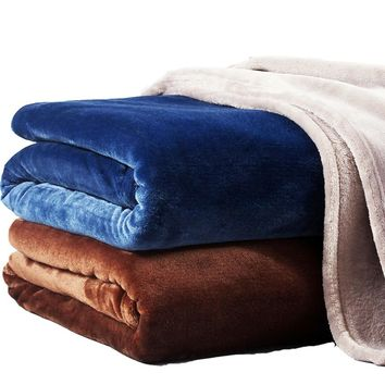 Solid Color Coral Fleece Blanket Sofa Cover Mink Throw Super Soft Winter Bed Sheet Coverlet Shawl Air Condition Plane Blankets